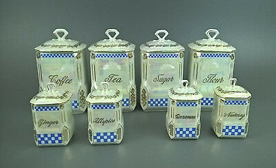 Vintage Czech Victoria China Canister Set Blue Checkerboard Pattern 8 Piece Set