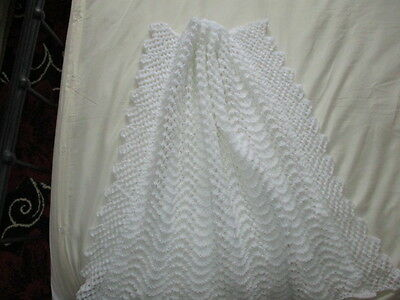 "Beautiful Hand Knitted Aran Baby Blanket 32""x 36"" Approx  White New"