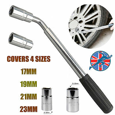Extendable Wheel Brace Wrench Telescopic Car Van 17 19 21 23mm Socket Tyre Nut