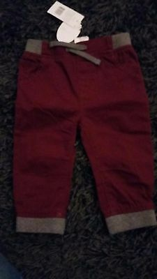 BNWT red & grey trousers size 9-12 months