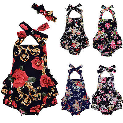 Cute Newborn Toddler Baby Girl Bodysuit Romper Jumpsuit Outfits Headband Clothes