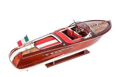 HANDCRAFTED WOODEN MODEL SPEED BOAT SHIP RIVA AQUARAMA GIFT DECORATION(70cm)