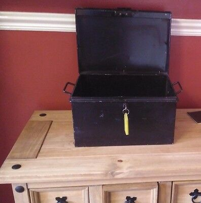 Vintage Metal Deed Box Storage Tin Chest will and testament Documents storage.