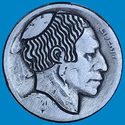 Hobo Nickel Coin Art Jewish Carved 37