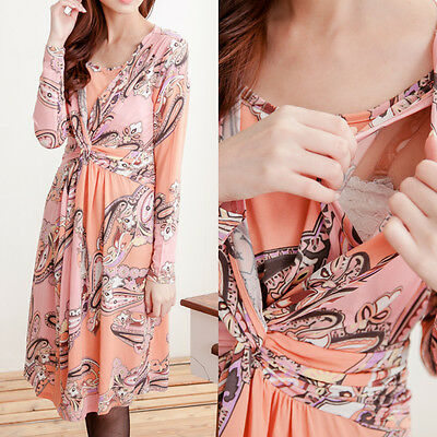 BREASTFEEDING Nursing Peach Dress Maternity Top Tunic Clothes 10 12 14 16 M L XL