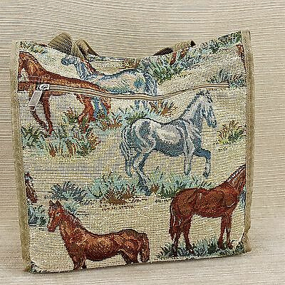 "Horse Pony Tapestry Fabric Large Tote Bag Purse 11 x 12 x 5"" w Pockets Tan Brown"