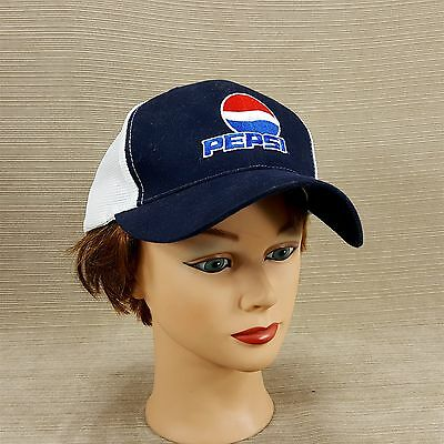 Pepsi Embroidered Logo Cap Hat Adjustable Strap Blue White Shiny Mesh Headgear