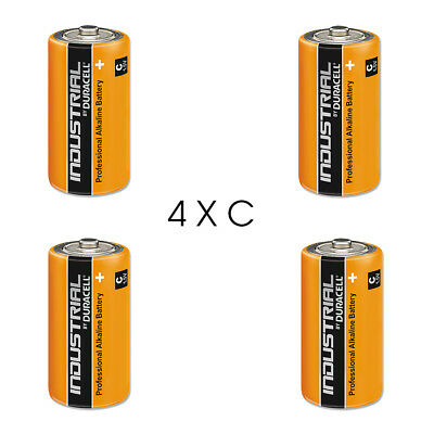 4 Duracell Industrial C Alkaline Batteries Replaces Procell MN1400 1.5V LR14