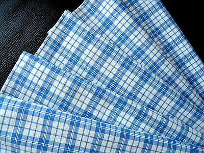 Vintage French woven linen fabric Blue white gingham, check from 1900s exc. cond