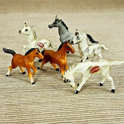 Vintage Miniature Horse Bone China Figurines LOT 6 pc Bradley Brown White Gray