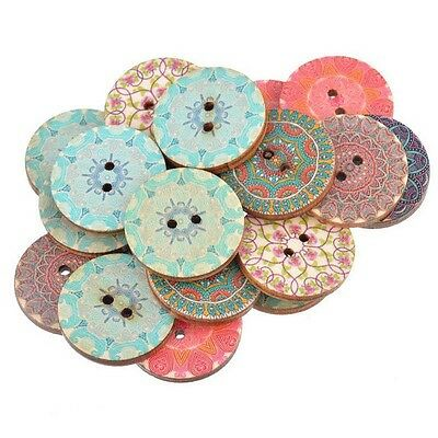 50PCS Clothings DIY Crafts Scrapbooking Sewing Buttons Round Shape Wooden