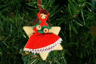 "Vintage Handmade Wood Fabric Doll Star 2.5"" Christmas Ornament"