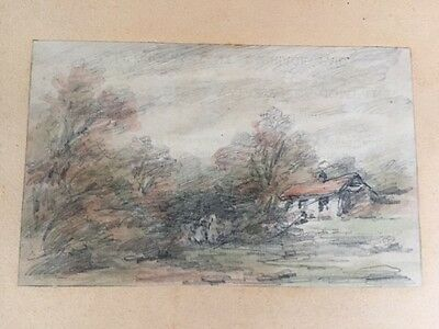 Original tinted drawing, Country Cottage  by Holmes Winter c.1870s..
