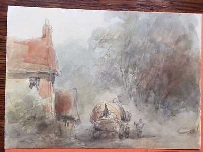 Original pencil & waercolour sketch Cottage and cart. by Holmes Winter c.1870s..