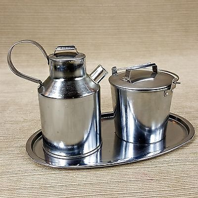 "Silver Metal Tin Milk Pail Creamer & Bucket Sugar Set on 8"" Tray Vintage Japan"