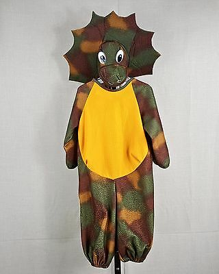 Baby Dinosaur Halloween Costume Infant 6-18 mth w/ Tail & Triceritops Hat w Eyes
