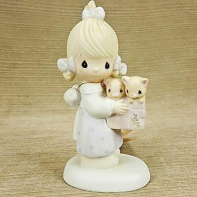 Precious Moments To Thee With Love Porcelain Girl w/ Kittens Cats Gift Figurine