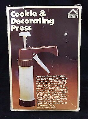 Hoan Cookie and Decorating Press Vintage 1979 Press 6 Nozzles 6 Discs COMPLETE