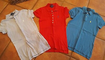 Ladies Ralph Lauren Size XS Polo 3 Shirts Great Used Shape Red Light Blue & Blue