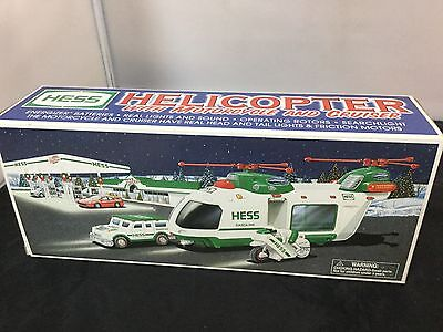 New 2001 Hess Toy Truck Helicopter With Motorcycle And Cruiser Limited Release