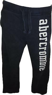 USED Boys Abercrombie&Fitch Navy&White Logo Bottoms Size Large (T.H)