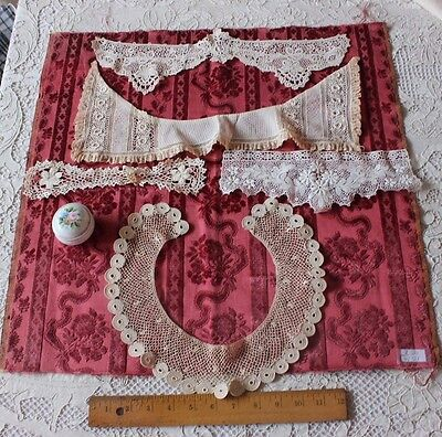 5 Antique Irish Crochet Lace Pieces c1900-1920~Collars,Womenswear,Dolls