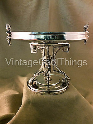 Ornate Figural Reed & Barton 1704 Silver Plated Compote with Woman Pedestal
