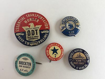 WW 1 & 2, Labor Pin Back Buttons: War Effort on the Home Front, Lot of 5 Pcs