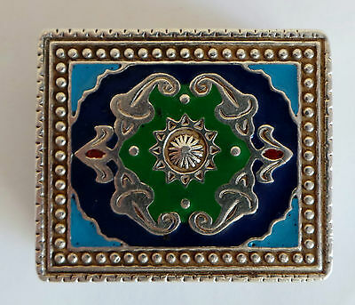 Vintage Solid Silver 925 & Enamel Pill Box - Islamic Style