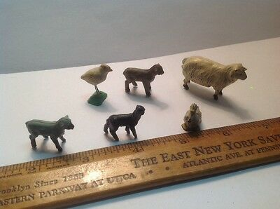 VINTAGE METAL ENGLAND LEAD MINI FARM ANIMALS SHEEP DUCK LAMB CLAY BIRD Lot Of 6