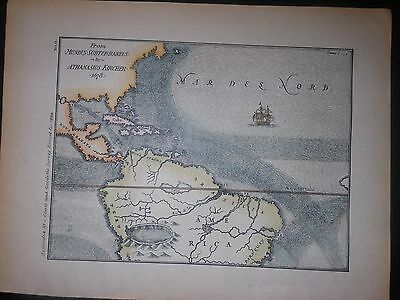 North South America 1678 Map By Kircher Hand Color Ocean Currents