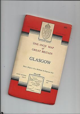 "OS 1"" Seventh Series Map GLASGOW 60 1959"