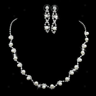 Wedding Party Prom Jewelry Set Rhinestone Faux Pearl Necklaces Earrings Set
