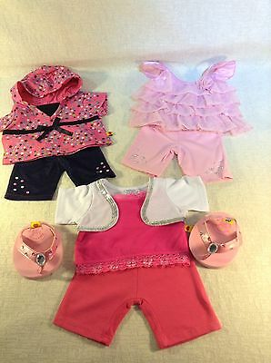 Build A Bear Pink  And White Bundle With Accessories