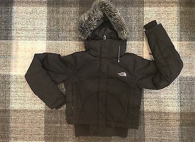 North Face Women's Black Prodigy 600 Goose Down Hooded Fur Puffer Jacket Coat XS