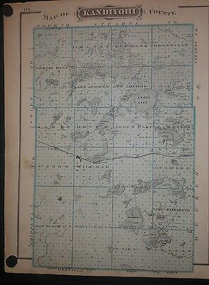 Kandiyohi County Minnesota Land Owners 1874 Map Hand Color Willmar Brainerd