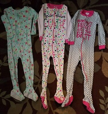 Lot of 6 Girls Sleepers Pajamas footed 3/footless 3 Size 3T