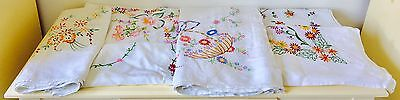 Lot Of 6 Vintage Linen Table Cloths Floral Embroidery
