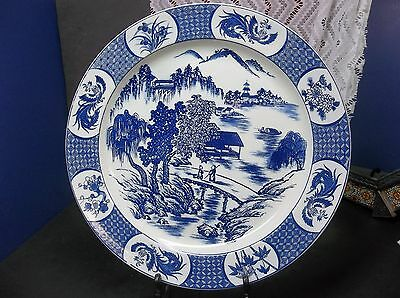 LARGE 42cm Antique Chinese Blue and White Porcelain Charger Plate 18th C KANGXI