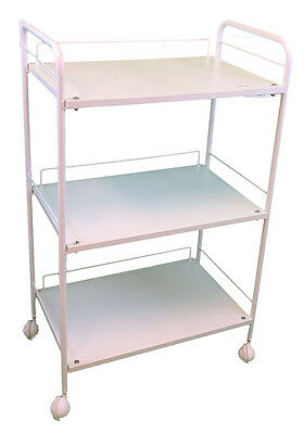 3 Shelve Salon Beauty white Trolley Cart with Lamp Holder and Bowl Holder