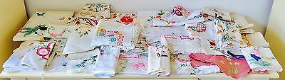 Vintage Large Lot Linen Embroidered Items Cloths Etc 40 + items