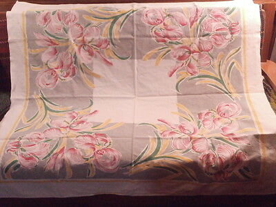 "Vtg Heavy White Cotton Tablecloth Floral  PINK-GRAY-GREEN-YELLOW; ~ 46"" x 50"""