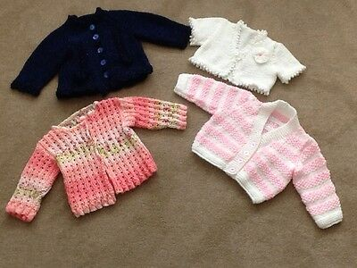 Baby Girls Age 3-6 Months Four Hand Knitted Beautiful Cardigans Bundle VGC