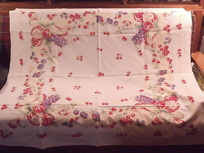 "Vtg Heavy White Cotton Tablecloth FRUIT/BERRIES  RED-BLUE-GREEN; ~ 46"" x 50"""