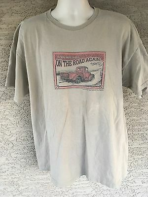 On The Road Again Men's Tan T-Shirt 100% Cotton size 2XL