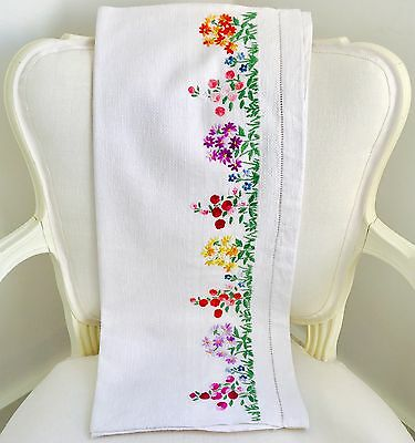 Vintage Floral Hand Embroidered Chair Back Stunning