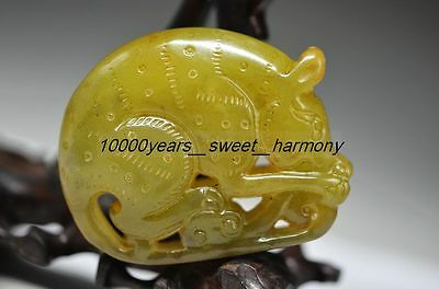 Perfect Chinese Old Jade Manual Carved Pig Statue G15