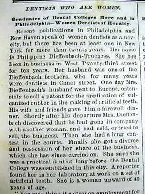 <1883 NEW YORK newspaper w LONG DETAILED ESSAY on 19TH CENTURY WOMEN DENTISTS