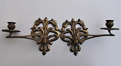 Pair of vintage Art Nouveau brass and copper wall candle holders