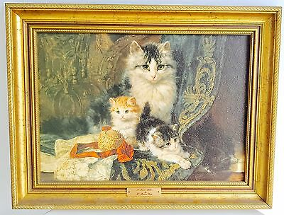 Vintage Oil Painting Of Cats Really Cute 'A proud Mother'